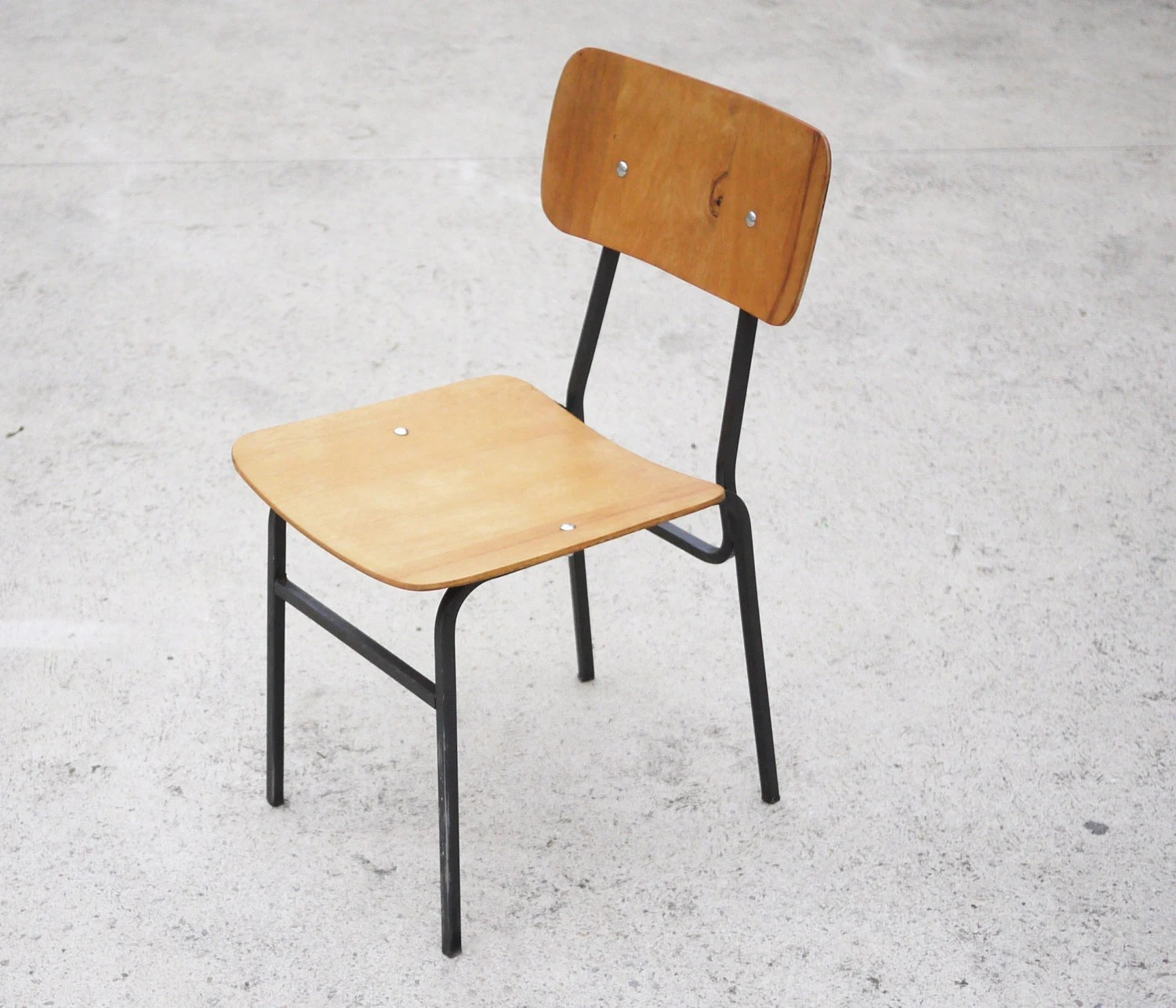Vintage School Chairs Vintage School Chair Industrial Metal Legs Wax Seat 1960 Mid Century Minimalist Chair Veneer Nostalgia Industrial