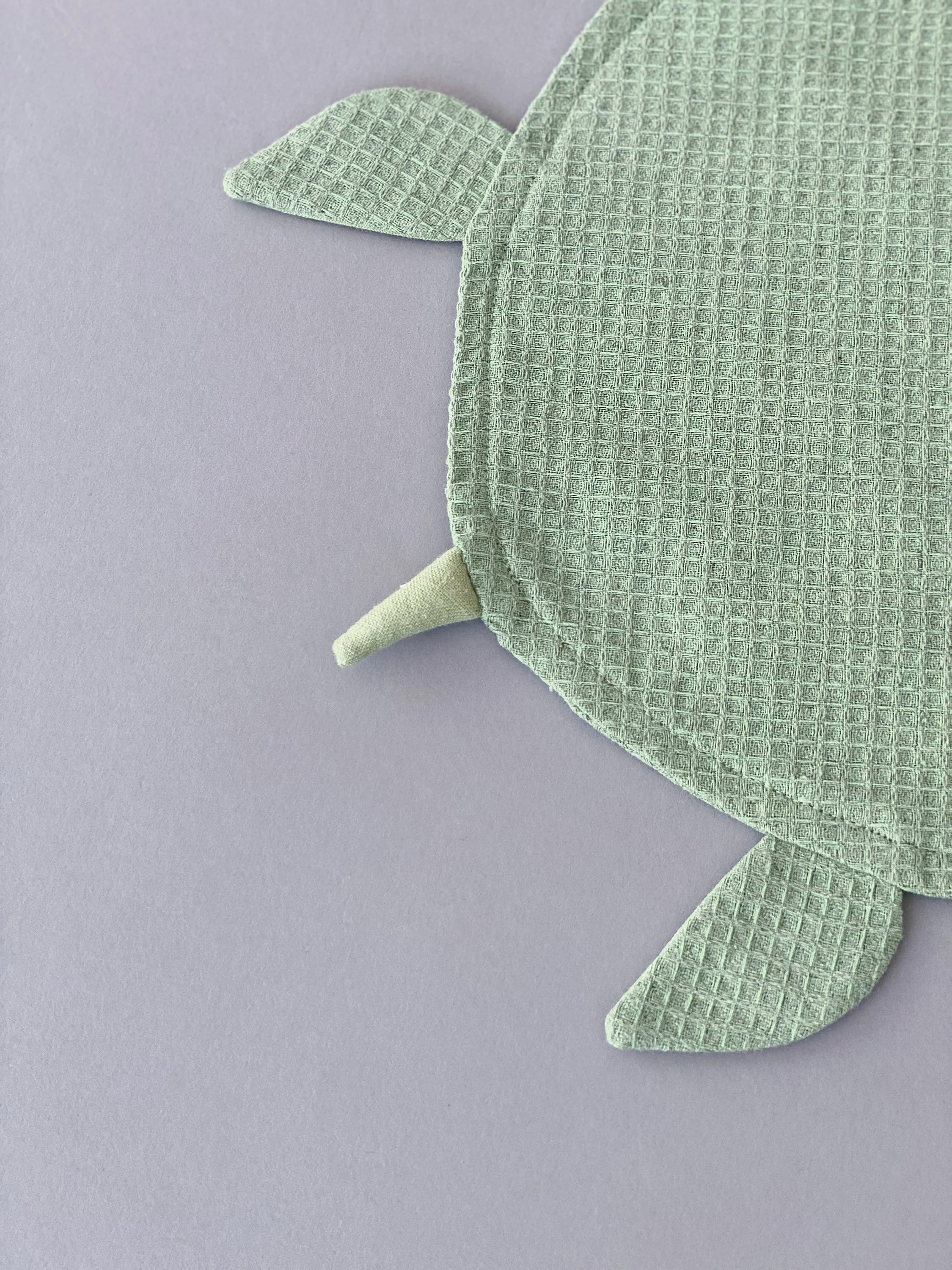 Green Turtle Lovey Waffle Linen Comforter by SUNandCo image 5