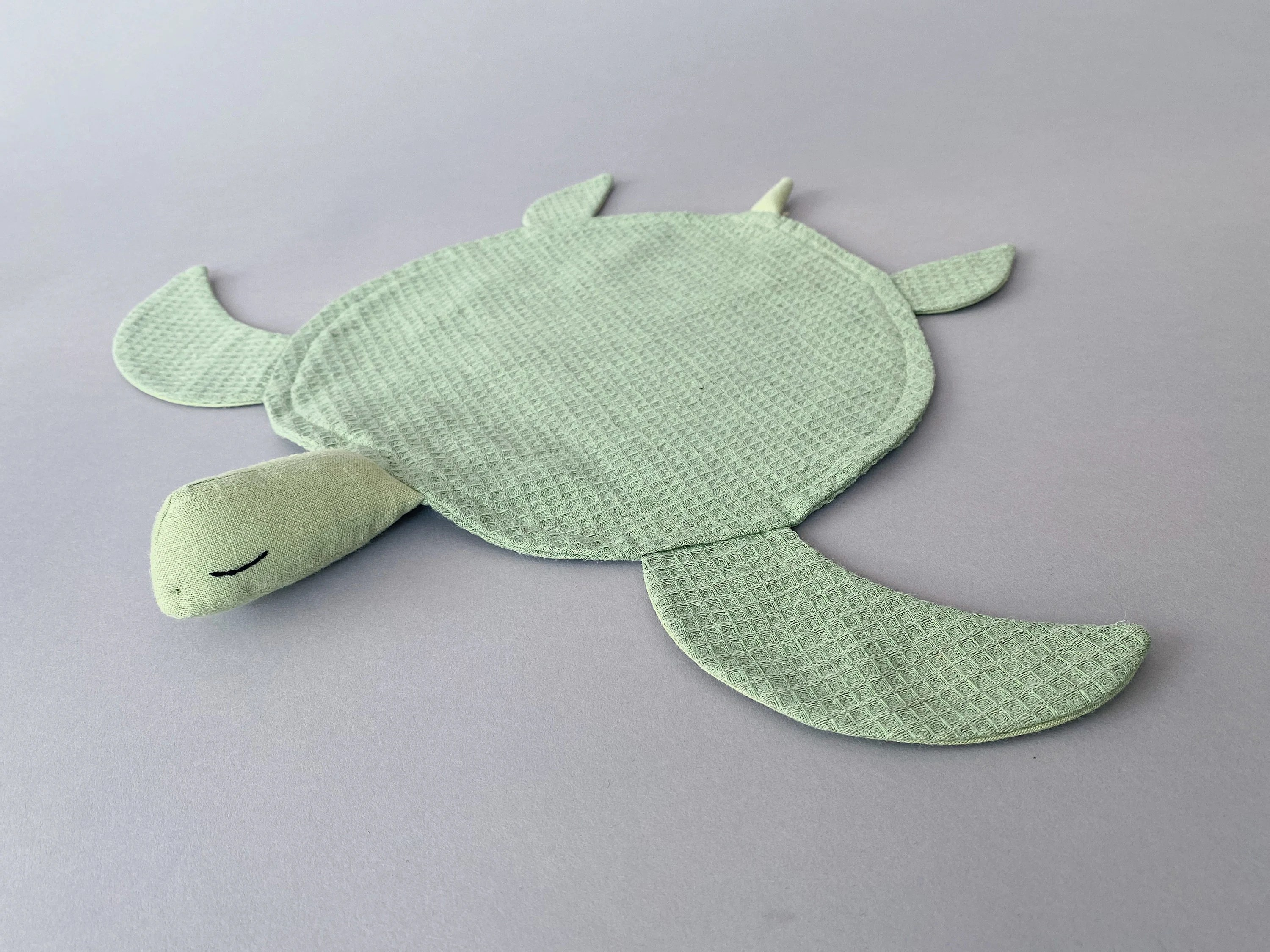 Green Turtle Lovey Waffle Linen Comforter by SUNandCo image 4