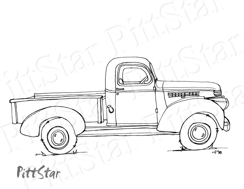 Instant Download Vintage Truck Printable Coloring Page