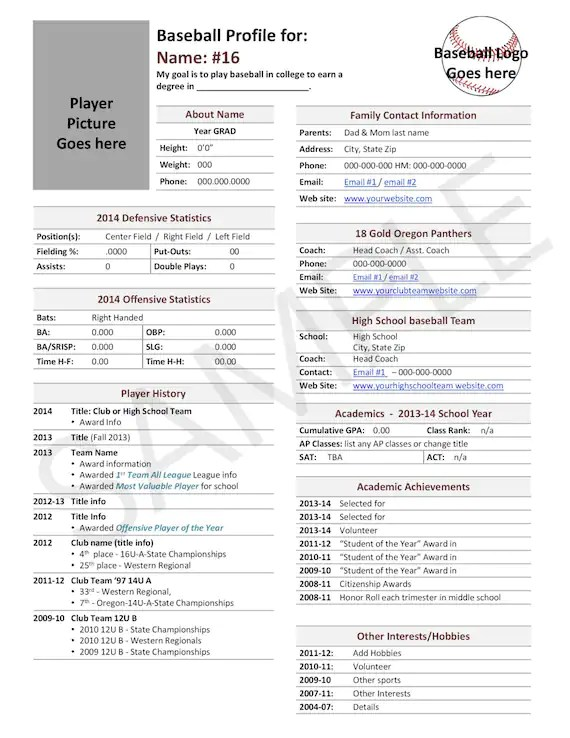 Items similar to Baseball, Player Profile Template, Used