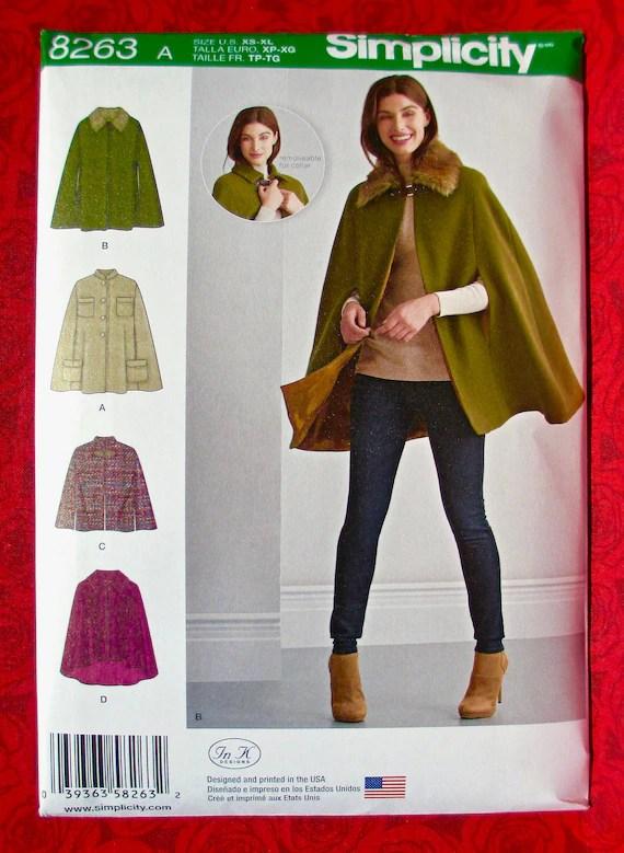 Simplicity Cloak Pattern : simplicity, cloak, pattern, Simplicity, Sewing, Pattern, Capelet, Detachable