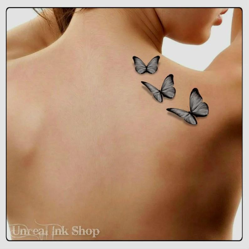 Temporal Tatuaje Mariposas 3d Falsificación Tatuaje Mariposa Etsy