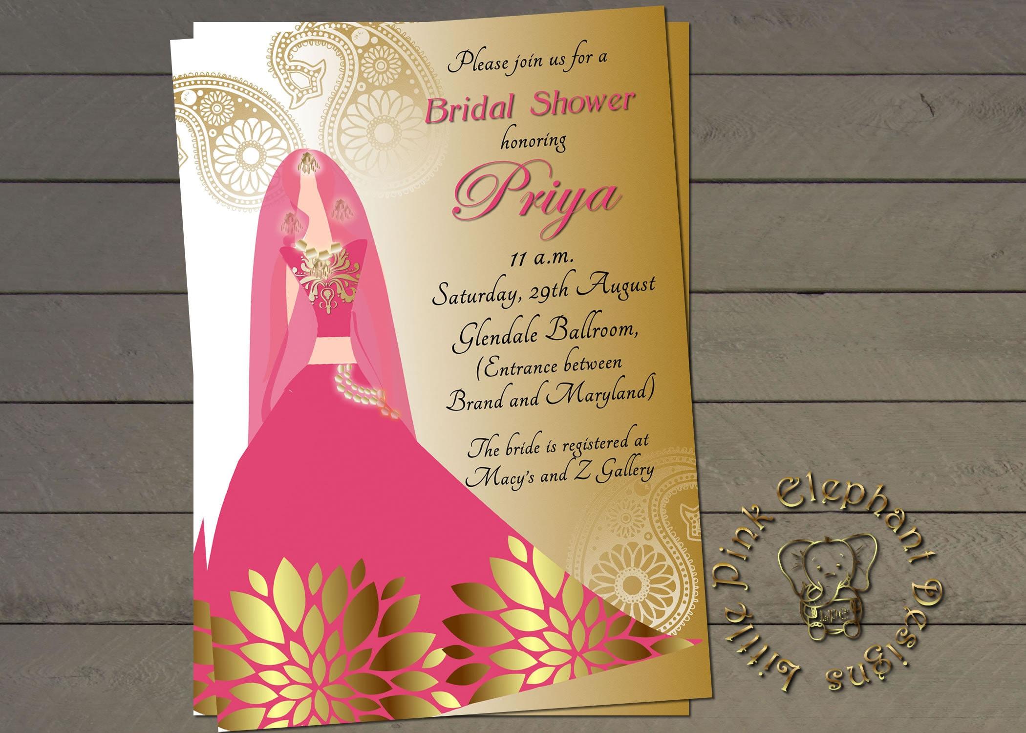Indian Bridal Shower Invitation Bollywood Invites Indian