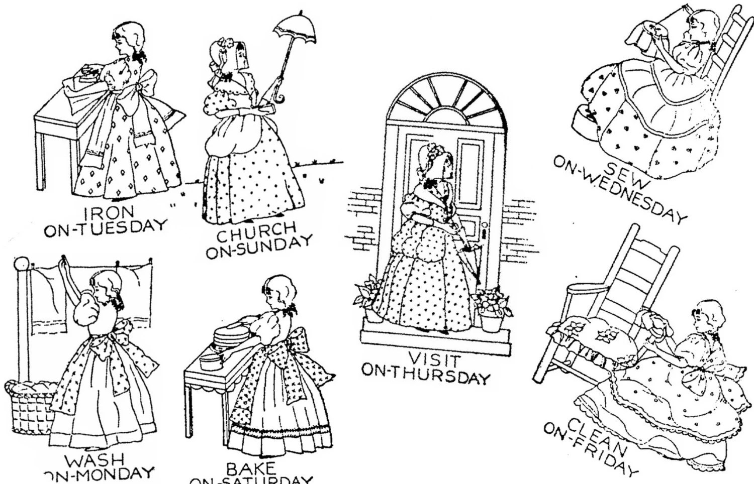 PDF Pattern Colonial Girls Tea Towels Embroidery Designs
