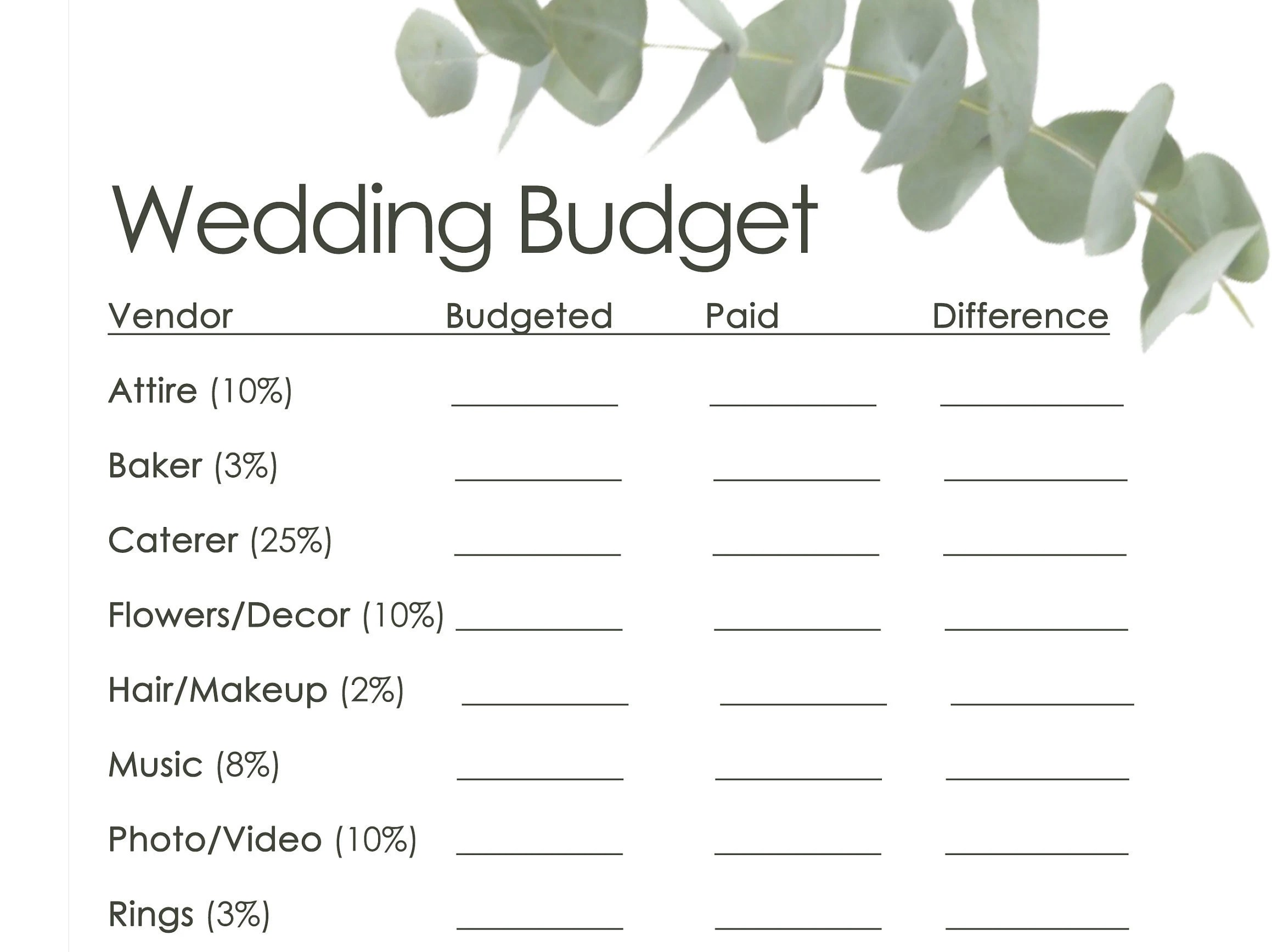 Wedding Budget Worksheet And Vendor Checklists Printable