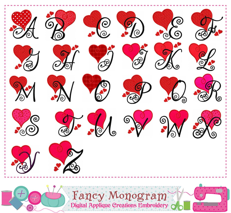Valentine S Day Letters Applique Monogram Applique