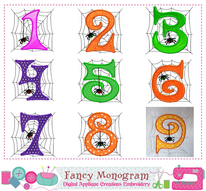 Halloween Numbers Applique Spider Numbers Applique Spider