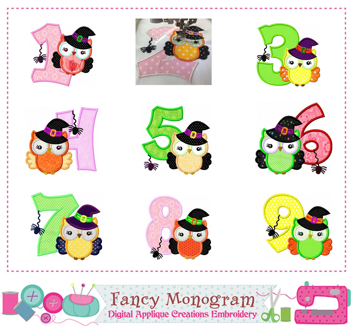 Witch Owl Numbers Appliquehalloween Numbers Appliqueowl