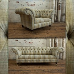 Tartan Chesterfield Sofa Dania Leather British Handmade 100 Wool Snuggle Chair Etsy Image 0