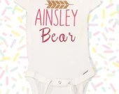 Custom name / Baby bear onsies - unisex personalized clothing - Monogram Onsies - Baby Shower Gifts