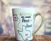 Sisters are Joined Heart to Heart - State Connection Coffee Mugs for sisters living in different states or countries! Personalized Gifts