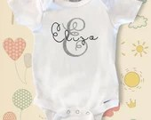 Monogram Baby Onsie - personalized and custom monogram baby tops - Monogram Initials - Baby Shower Gifts - New Baby Onsie