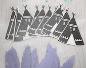 10 pack of Teepee and Feathers - comes in any color! Die Cuts - Craft Paper Supplies - Adventure Crafting