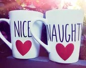 Naughty and Nice Mug Set - Christmas Mugs - The grinch Mugs - Stocking Stuffers for the Couple. Naughty and Nice Coffee Mugs.