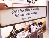 Every Love Story is Beautiful but ours is my Favorite - wooden wall sign for newly weds or anniversary gift! Reclaimed wood and hand painted