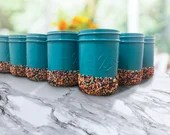 Sprinkle Dipped Theme Mason Jars in any colors requested! Party supplies and Party Decor - Utensil Holders - Pencil Cups.