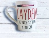 Personalized Light Saber Coffee Mug - The Force Is Strong in this one - Mugs for Kids - Red and White Coffee Mugs