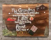 My Grandma has ear that always listen, hands that hug and hold, a heart that is made of gold - Grandma Wooden Rustic Cabin Signs - Nana MeMa