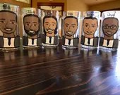 Charicature Beer Mugs - Groomsman Gifts -Groomsman Beer Mugs - Wedding Party Gifts - Tux Beer Steins