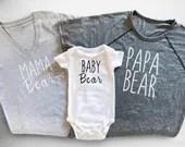 Family Bear Shirts - Mama Bear, Baby Bear, Papa Bear.