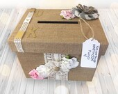 Burlap Vintage Style Rustic and County Wedding Gift Card and Money Box. Wedding Supplies and Money Boxes.