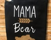 Mama Bear black and gold T-shirt with bears and baby bears - baby shower gift-gifts for new mom