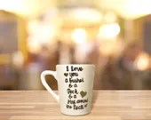 I Love You a Bushel and a Peck and a Hug Around the Neck - coffee mug gift set. Sweet sayings on Coffee Mugs.