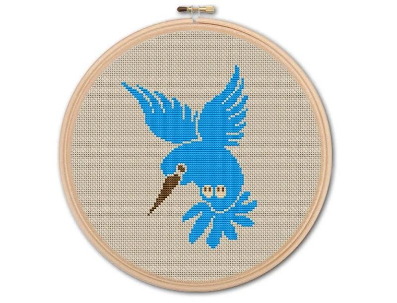 hummingbird diagram of color polar bear fur blue counted cross stitch pattern pdf etsy image 0