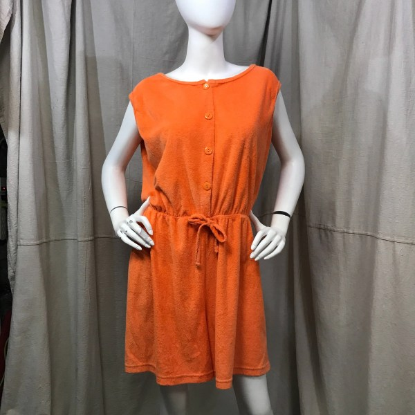 Beach Romper Cover Pool Orange Terry Cloth Vintage