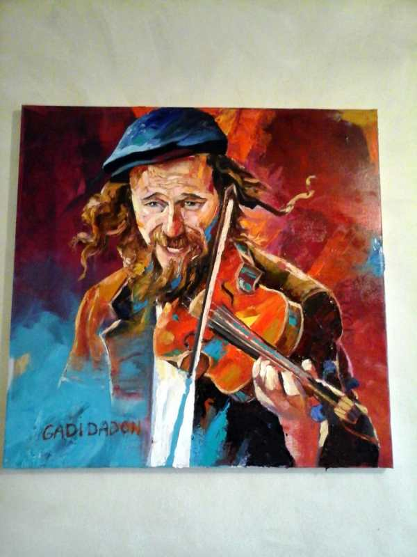 Jewish Painting. Happiness.musician. Violinist. Palette