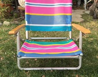 vintage lawn chair best baby sit me up etsy 90s multi colored collapsible outdoor foldable garden beach sand