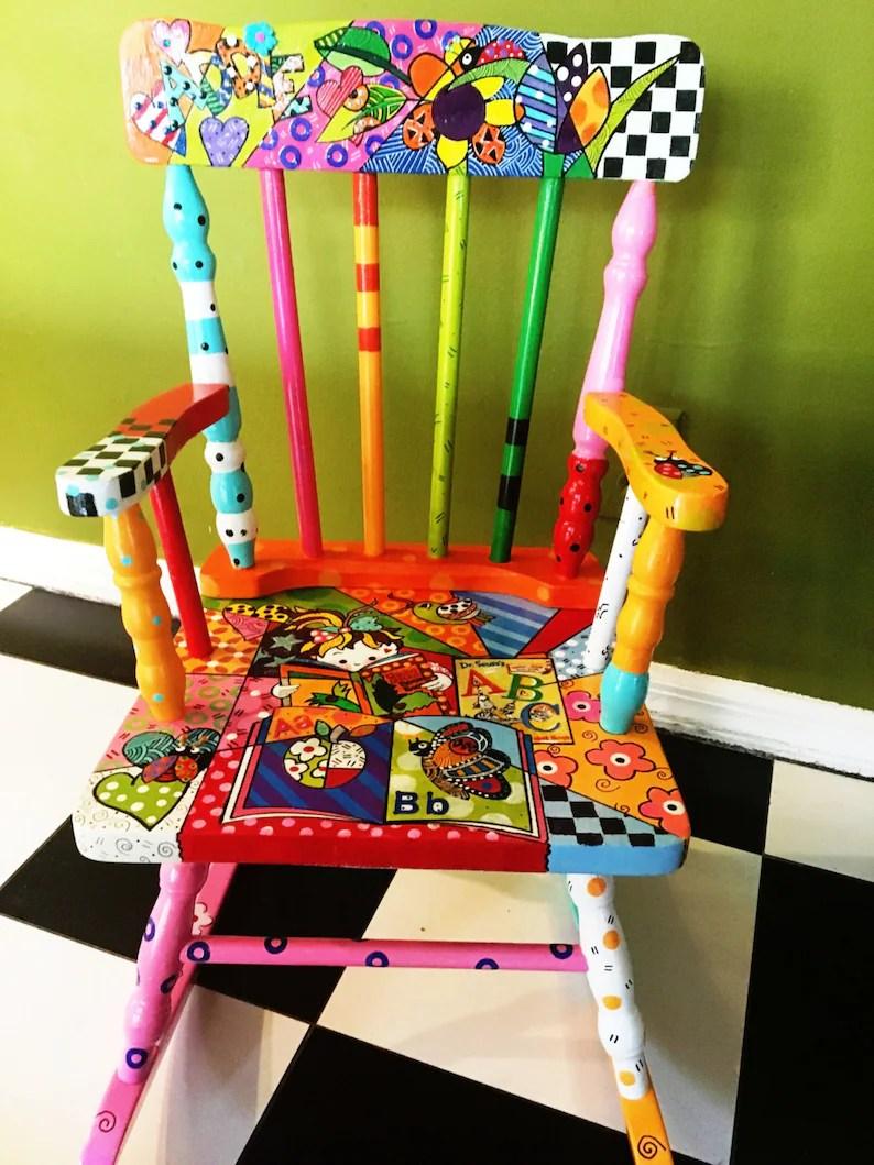 Custom Order Hand Painted Kids Rocking Chair