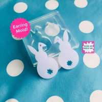 34mm Silicone Earring Mold Rabbit Dangle EM276