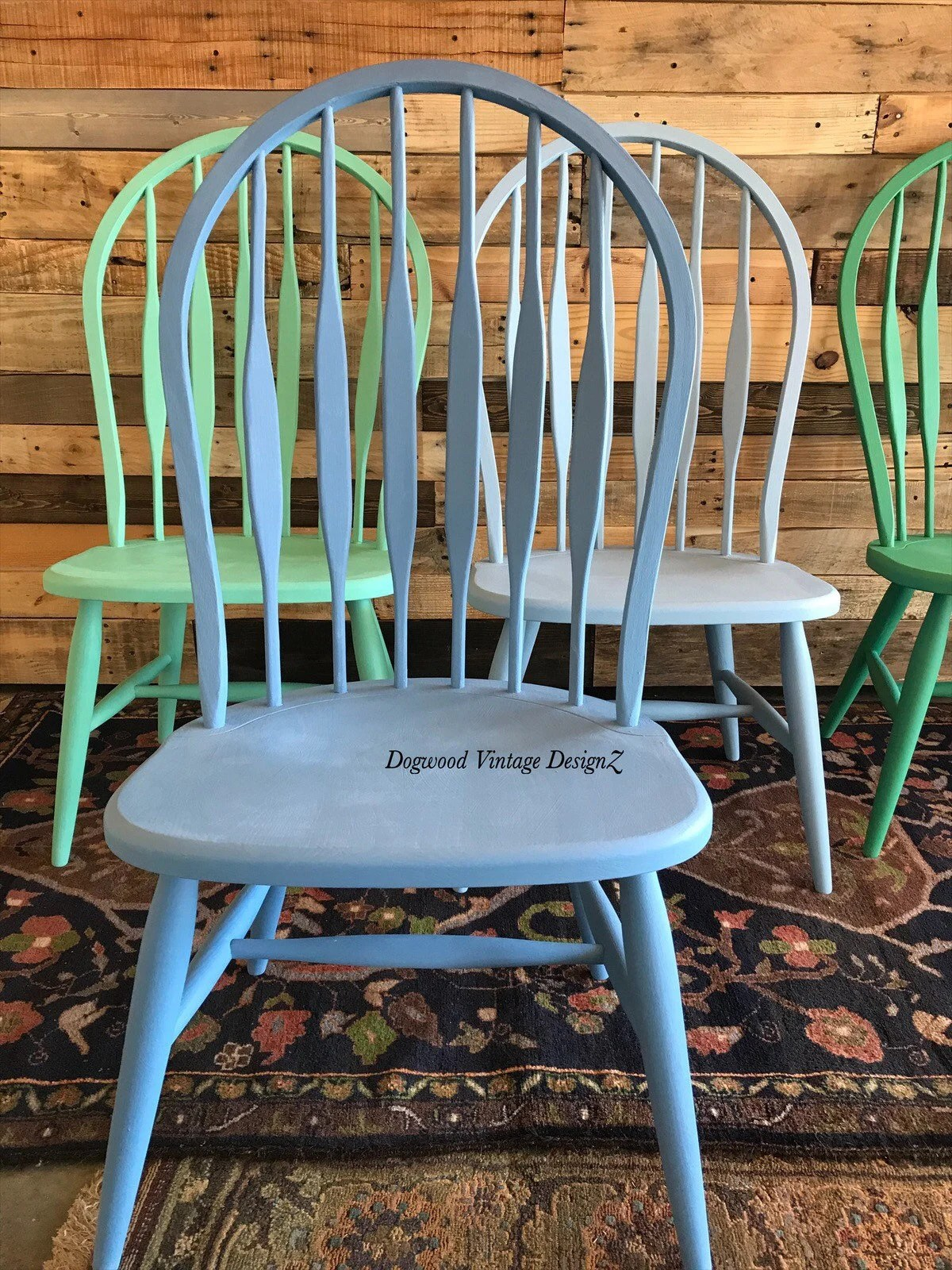 vintage wooden dining chairs phillips collection seat belt chair etsy painted windsor modern farmhouse