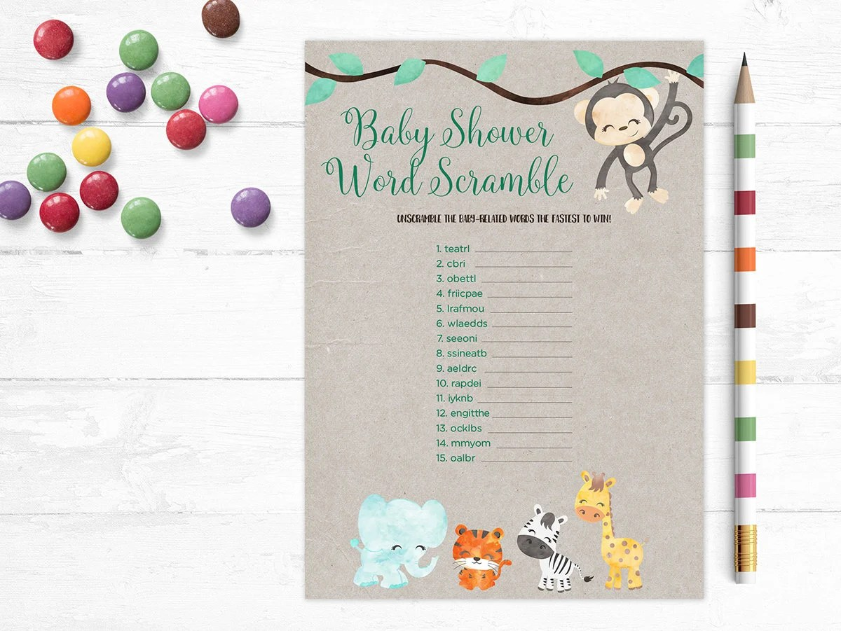 Printable Baby Shower Game Word Scramble Unscramble Words Jungle Animals Word Game Kraft