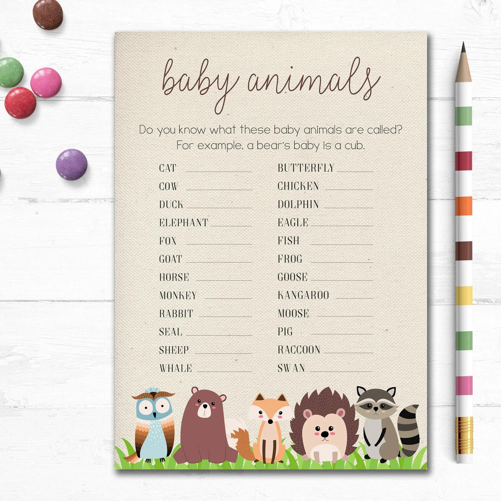 Printable Baby Shower Game Baby Animals Animal Names