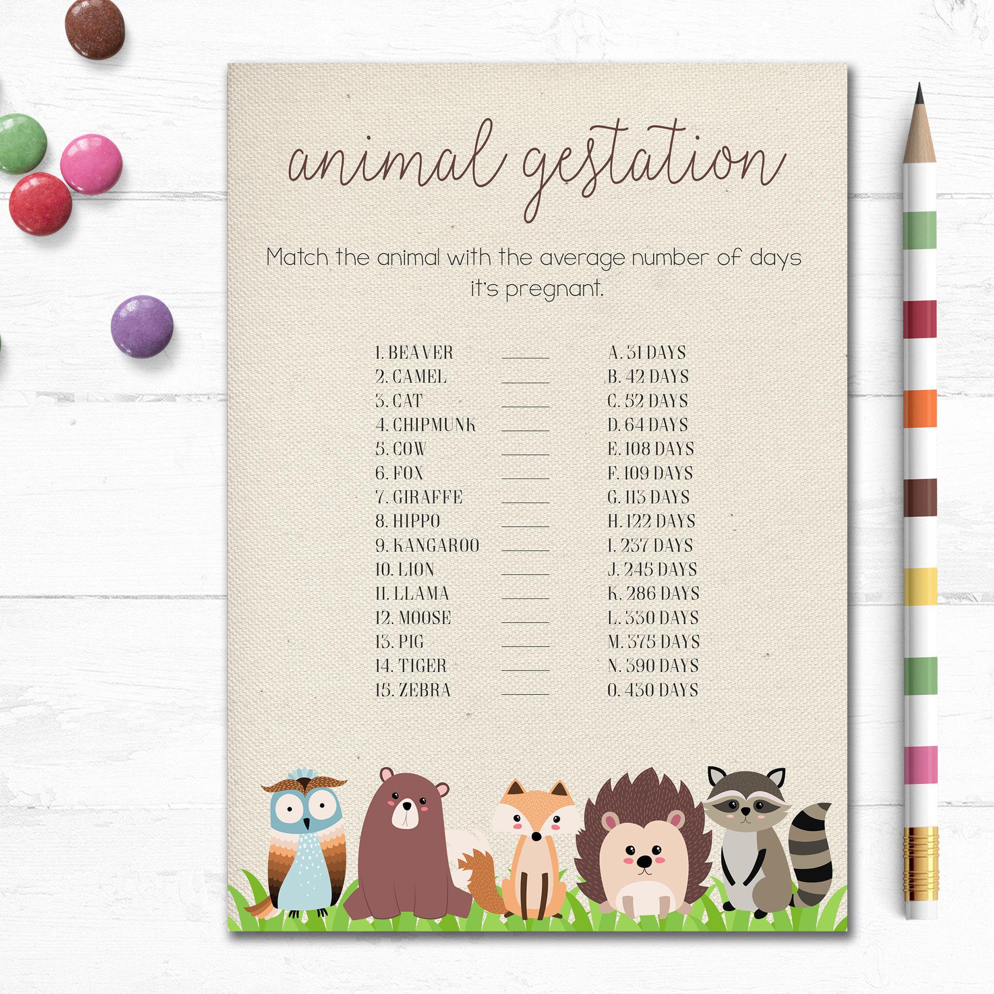 Printable Woodland Baby Shower Game Animal Gestation Game