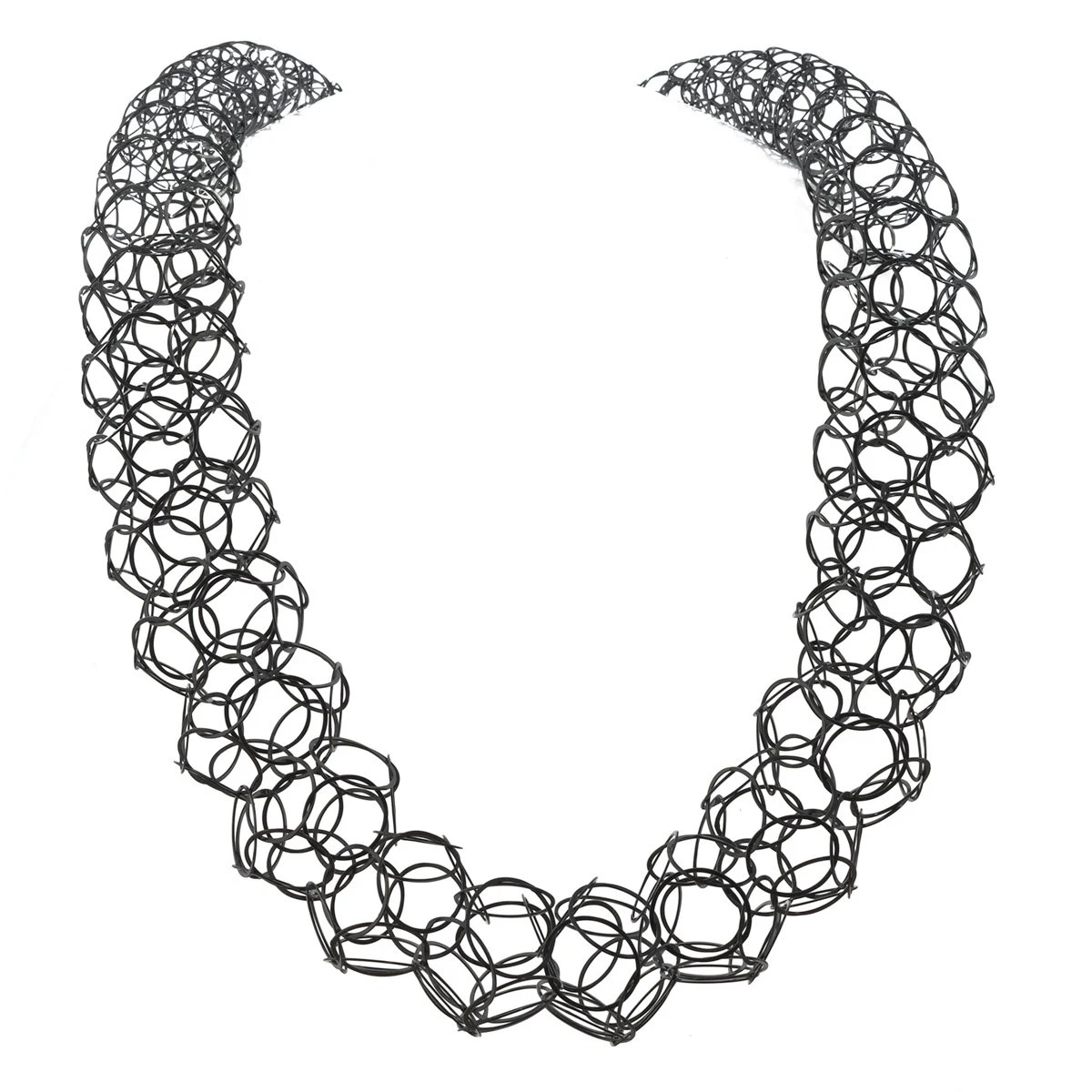 Statement chainmaille necklace chain tube necklace black