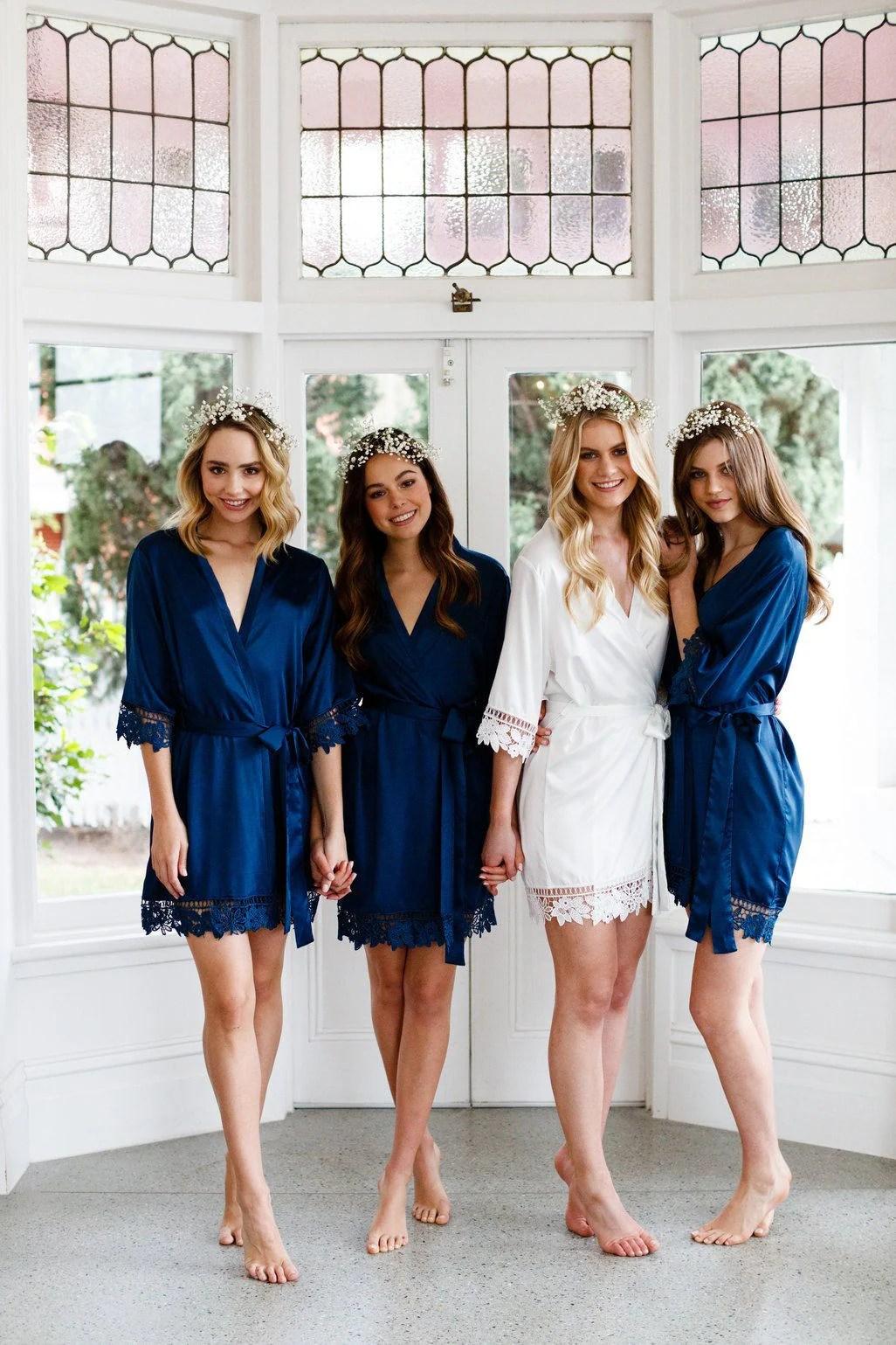 Lace Bridal Robe // Bridesmaid Robes // Robe // Bridal Robe // Navy