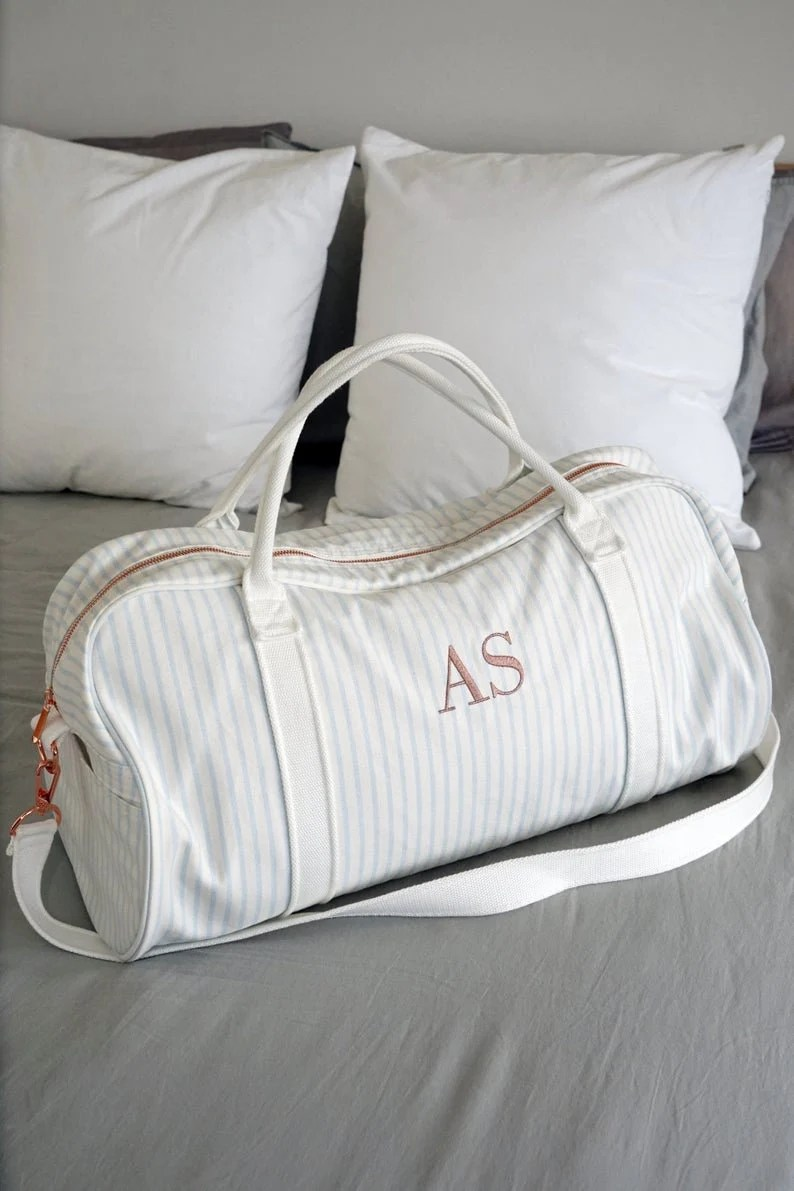 Personalised Bag //Duffle Bag //Bridesmaid Gifts //Monogrammed Dusty Blue Stripe