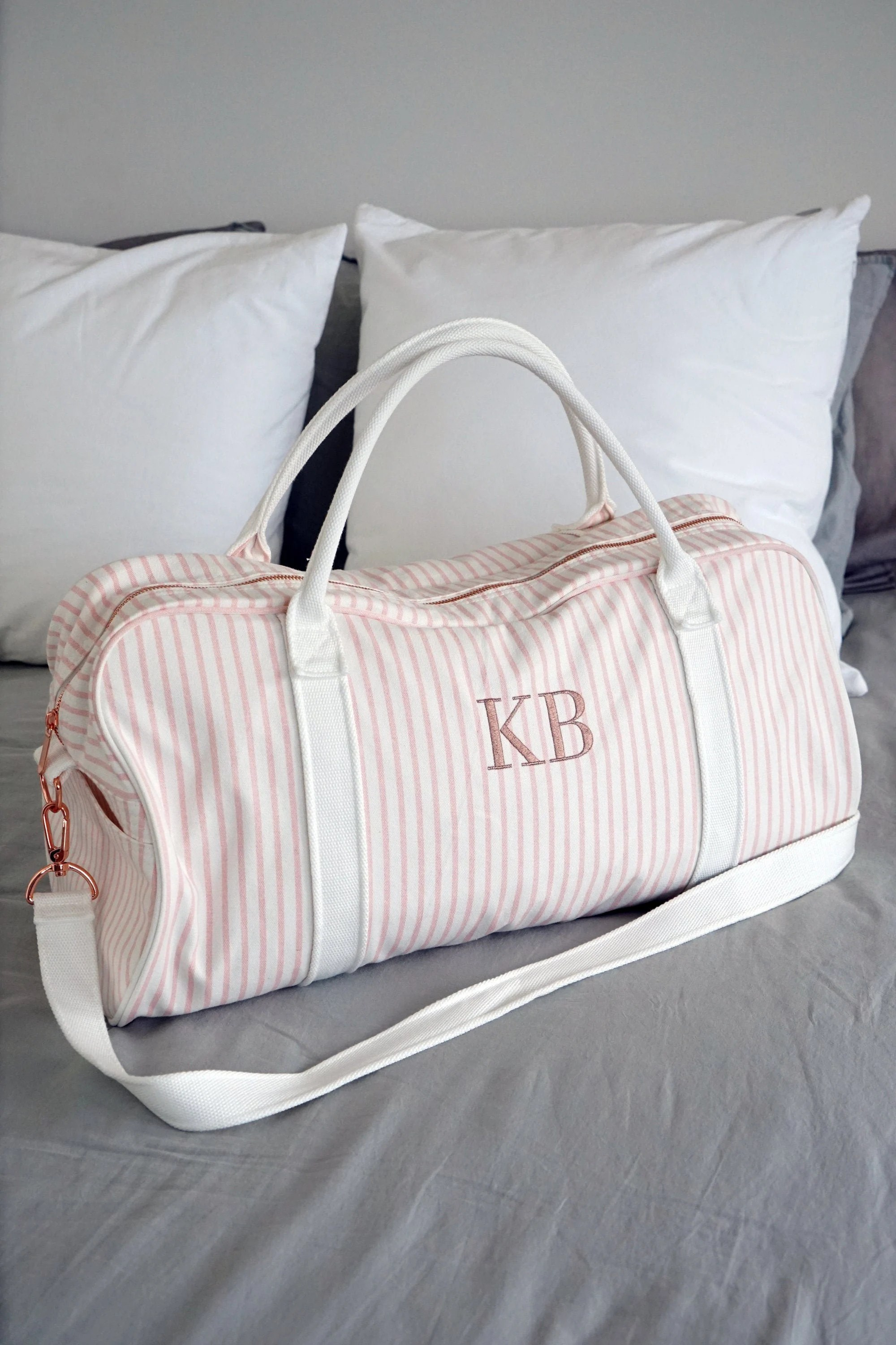 Personalised Bag //Duffle Bag //Bridesmaid Gifts //Monogrammed Blush Pink Stripe