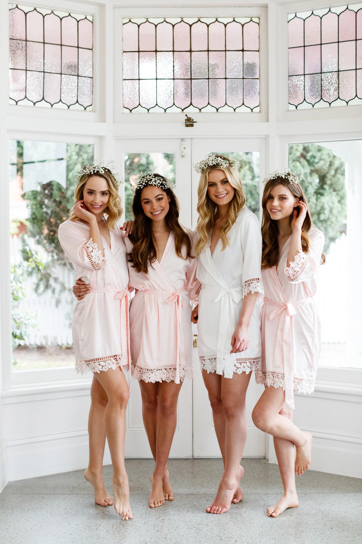 Lace Bridal Robe // Bridesmaid Robes // Robe // Bridal Robe // Soft Pink