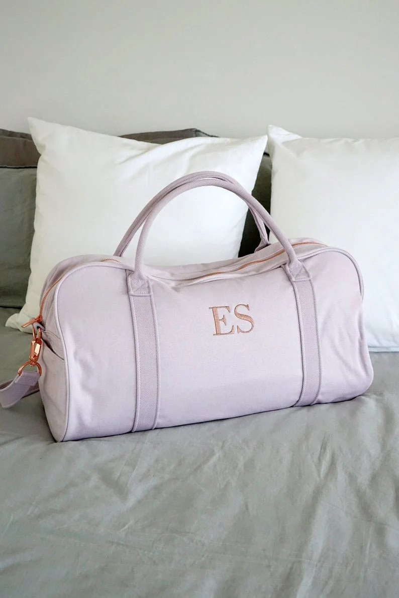 Personalised Bag //Duffle Bag //Bridesmaid Gifts //Monogrammed Lilac