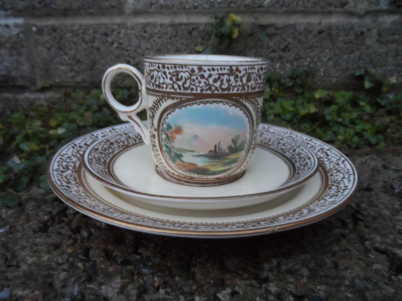 Antike Feines Porzellan Tasse Untertasse Und Teller Trio