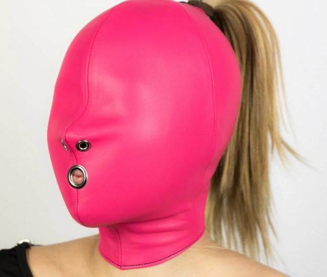 Bondage Hood With Mouth Hole Female Italian Leather Hand Made To Order Mature