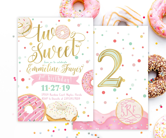 donut two sweet birthday invitation