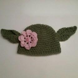 Crochet Yoda Hat Baby Girl Flower Hat Starwars Beanie Etsy 797dd4d18b9c