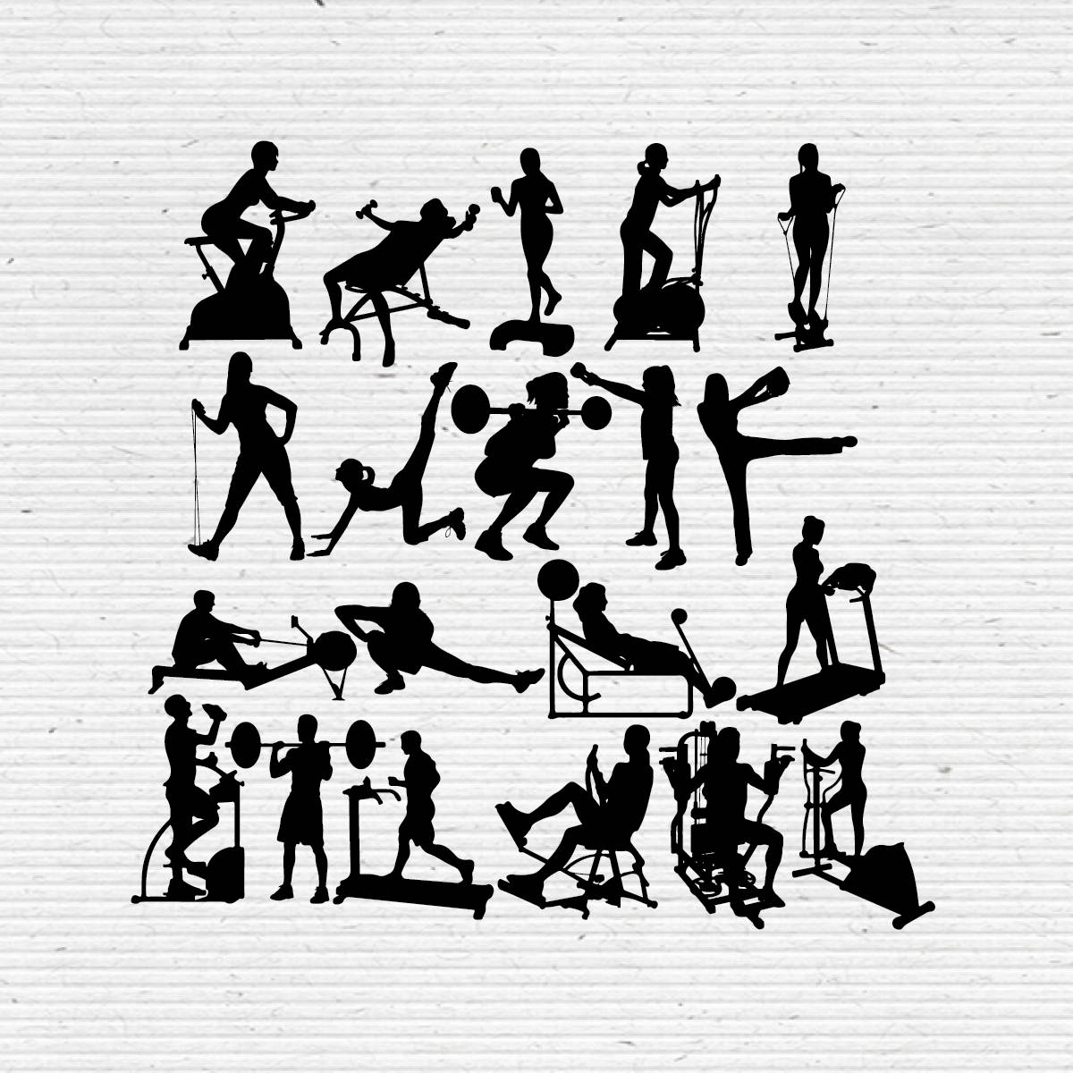 Fitness And Gym Silhouette Printable Clipart For