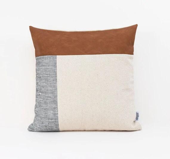 scandinavian cushion cover grey linen pillow covers color block pillow cases 18x18 pillow covers throw pillow cover faux leather cushion